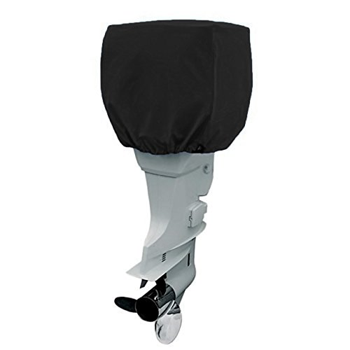 COCO Outboard Motor Cover Waterproof Boat Motor Cover, Outboard Engine Cover Up to 115-225 Horsepower - Trailerable Heavy Duty Water and UV Resistant with Thick (Black,4 Strokes)