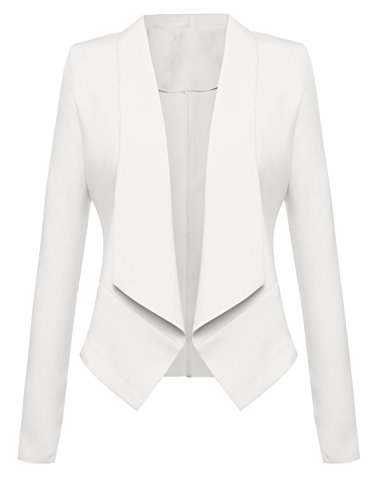 Beyove Women Solid Stretch Long Sleeve Open Blazer Jacket Made In USA White 2 XL
