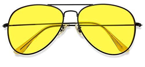 Classic Aviator Style Metal Frame Sunglasses Colored Lens (Sunglasses Yellow Amazon Tinted)