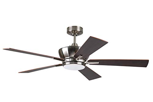 """Litex Industries WE52BNK5LR Litex Wendling Modern 52""""Ceiling Fan Brushed Nickle Finish with 5 Glazed Cherry/Mahogany Reversible Blades, Remote Control, UL Rated, Nickel"""