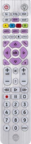GE Universal Remote, Backlit, for Samsung, Vizio, Lg, Sony, Sharp, Roku, Apple TV, Smart TVs, Streaming Players, Blu-Ray, DVD, Master Volume Control, Simple Setup, 6-Device, Black, 37038