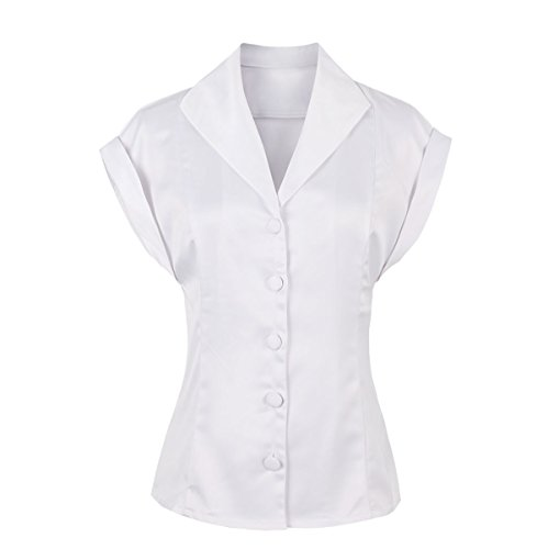Funray Womens Classic Button Down Shirts Silk Cap Sleeve Blouses Tops Petite Size & Plus Size 4 (Classic Petite Blouse)