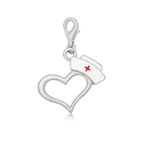 MANZHEN Enamel Nurse Hat Heart Charms for Bracelet,Necklace,Keychain Nurse Medical Students Gift (Silver)