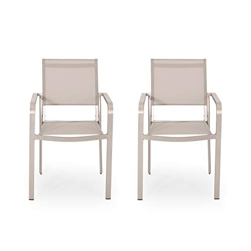 Samantha Outdoor Modern Aluminum Dining Chair with Mesh Seat (Set of 2), Silver and Taupe