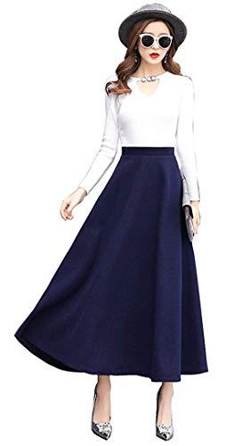 Femme Rtro lgant Couleur Unie Longue Jupes de Laine Taille lastique Automne Hiver Chaud A-Ligne Taille Haute Jupe plisse Bleu Marine