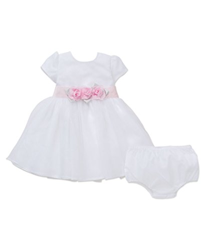 Little Me Girls' Sparkle Dress and Panty, White, 18 Months