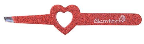 Glamtech Serious Tweezers Heart Red Glitter Eyebrow Precision Slant - Heart Tweezers