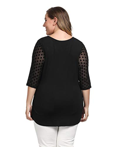 2e51f1ee79f5c Chicwe Women s Stretch Plus Size Dot Mesh Jumper Top Blouse 1X-4X