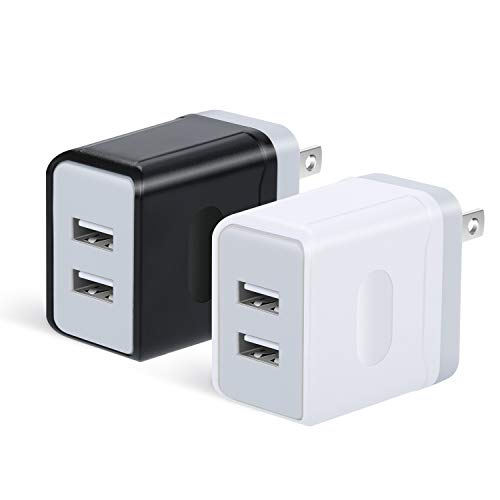 OKRAY USB Wall Charger, 2 Pack 5V/3A Portable Dual USB Travel Power Adapter Wall Charger Plug Charging Block Phone Charger with Wall Plug Compatible iPhone XS, Samsung S10/S9/S8, Android (Black White)