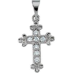 Pendentif Croix-Or blanc 14 carats avec diamants bruts 14 x 10 mm-JewelryWeb