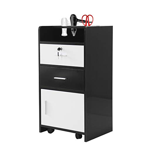 "Salon Wood Cabinet Trolley with Rolling Wheel & Lock,Spa 3-layer Drawer Storage Shelf with 3 Dryer Holes, Beauty Utility Cart, Black& White  – (31.1 x 17 x 13.7)""(L x W x H)"