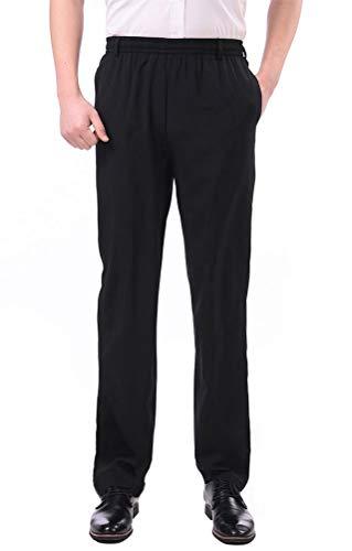 Waist Pocket Two Elastic (Soojun Men's Casual Straight Leg Full Elastic Waist Pull On Pants, Deep Black, Large)