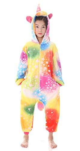 Kids Animal Unicorn Pajama Onesie - Soft and Comfortable with Pockets (B-Colorful Sky Unicorn, 130# Height(47-51 inch))