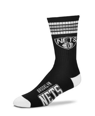 fan products of For Bare Feet NBA 4 Stripe Deuce Crew Men Socks-Brooklyn Nets-Large (10-13)