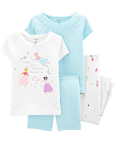 (Carter's Toddler and Baby Girls' 4 Piece Cotton Pajama Set, Princess, 2T)
