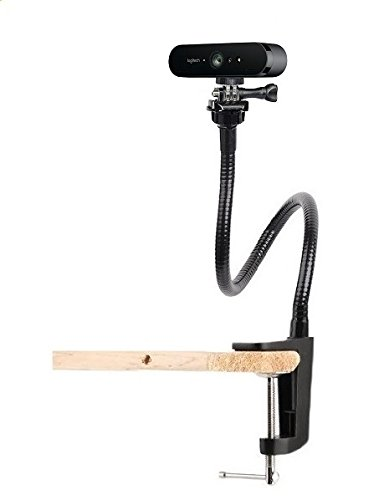 25 inch Flexible Desktop Jaw Long Arm Clamp Clip Mount Holder for Logitech Brio 4K, C925e,C922x Webcam by AceTaken