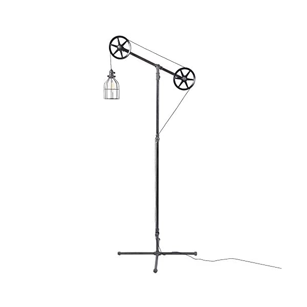 West Ninth Vintage Black Pendant Industrial Standing Floor Lamp with Black Steel Wheels - Use in Any Room - Add… 3
