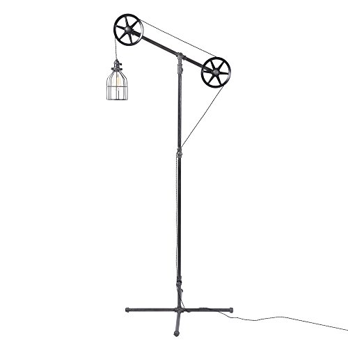 West Ninth Vintage Black Pendant Industrial Floor Lamp | With Metal Cage Light