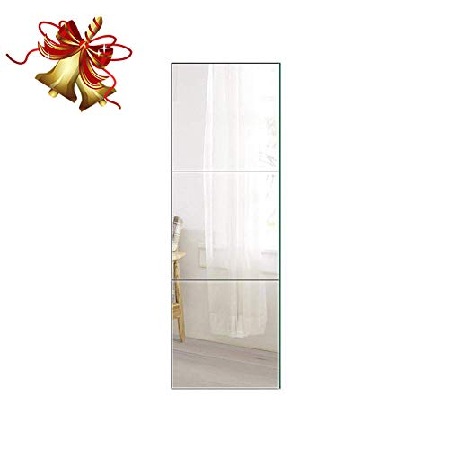 Beauty4U Full Length Tall Mirror Tiles - 16 Inch x 3Pcs Frameless -