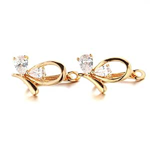 YupFun Women's 18K Gold Plated Brass Crystal Clear Swarovski Stone Abel Mitchel Double Tear Drop Earrings