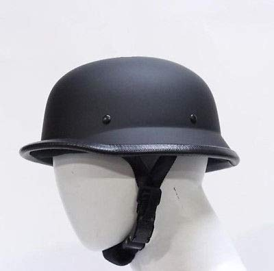 German Novelty Flat Black Motorcycle Half Helmet Cruiser Biker S,M,L,XL,XXL (M, FLAT BLACK) ()