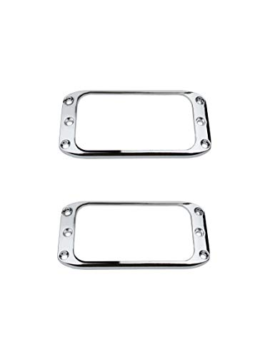 Set Humbucker Cover - Guyker 2Pcs Pickup Mounting Rings for Humbucker – Metal Pickups Cover Frame Set Replacement Round Edges for Electric Guitar or Bass (Chrome)