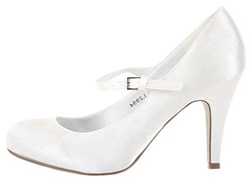 Ladies Party Classic Formal Pumps High Heels Stiletto Court Shoes Size Wedding with shoeFashionista Boutique bag White Satin fCFCs