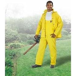 ONGUARD 73515 3-Piece 2-Ply PVC Economical Budget Suit with Detachable Hood, Yellow, Size X-Large