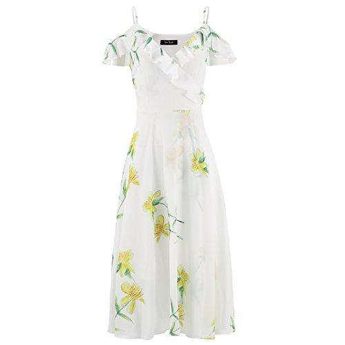 One Sight Women's V-neck Off-Shoulder Spaghetti Strap Dress Floral Print Split Ruffle Midi Dress Casual Dress, White - Sight One