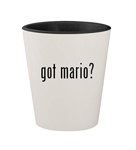got mario? - Ceramic White Outer & Black Inner 1.5oz Shot Glass (Paper Mario Sticker Star World 1 4)