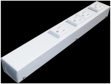 e-dustry EPS-H104NVW 4 Outlet Hardwired Power Strip44; 12 in. - White