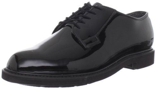 Bates Men's High Gloss Durashock Uniform Oxford, Black, 9.5 D US (Bates High Gloss Leather)
