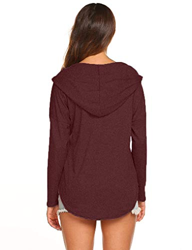 OURS Womens Long Sleeve V Neck Casual Loose Tshirts Hoody Tops