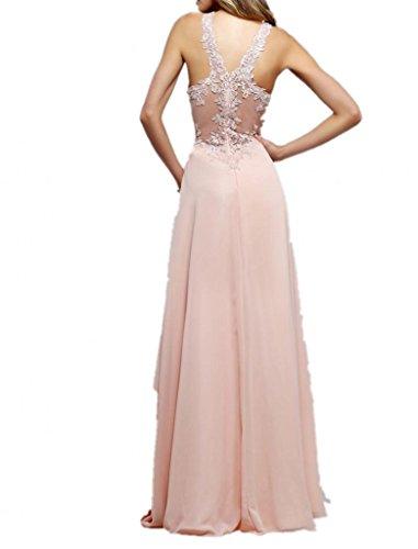 Royaldress 2016 Neu Romantisch Rosa Chiffon Abendkleider  Abschlussballkleider Ballkleider Alinie