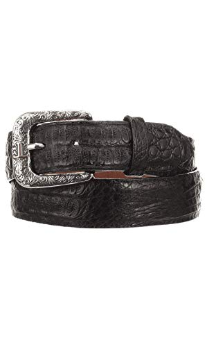 Lucchese Men's Black Hornback Caiman Crocodile Casual Belt (W9321)