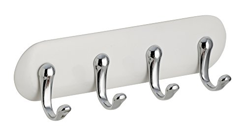 InterDesign AFFIXX, Peel and Stick Strong Self-Adhesive Key Storage Rack for Office, Entryway, Kitchen - 4 Hooks, White/Chrome Metal Tile Letter Holder