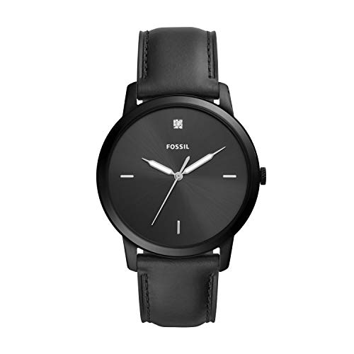Fossil Men's 'The Minimalist 3H' Quartz Stainless Steel and Leather Watch, Color:Black (Model: FS5478)