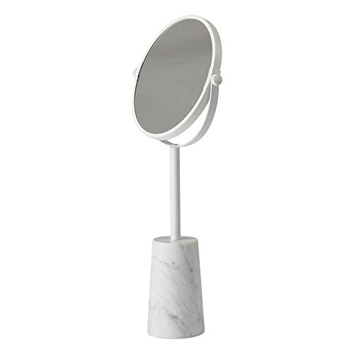- Nova Bath Collection Enyo White Metal Marble Free Standing 2X Magnifying Cosmetic Makeup Round Mirror