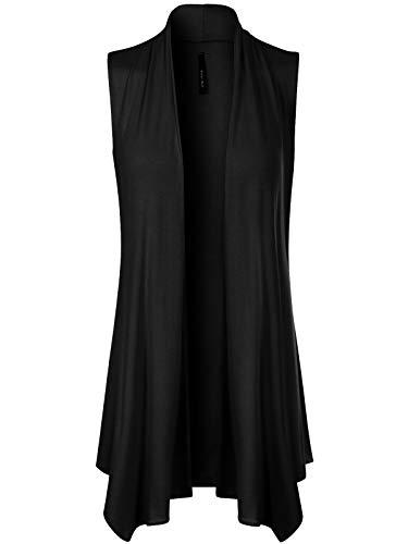 Design by Olivia Women's Draped Layering Sleeveless Waterfall Open Front Cardigan Vest