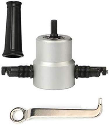 両頭メタルシートカッター電動はさみカーブオープニングハンドドリルブリスター紙カードセット-シルバーブラック
