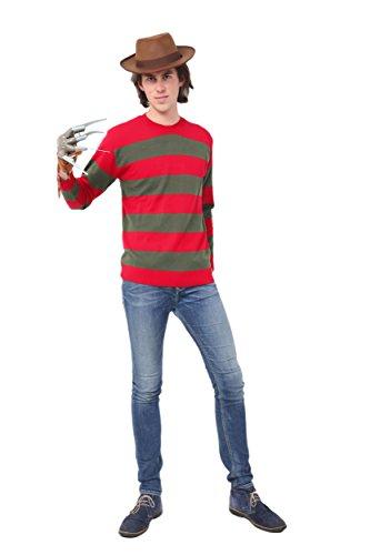 Mens Red and Dk. Green Stripe Freddy Kruger Fancy Dress Jumper (Large (Chest 46-48