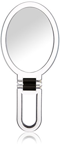 Danielle Creations Ultra Vue Collection Clear Acrylic Oval Folding Hand Held Mirror, 7x Magnification