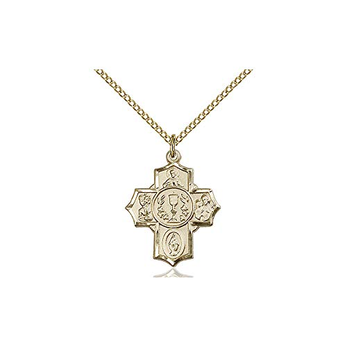 DiamondJewelryNY Religious Medal, 14kt Gold Filled Communion/5-Way Pendant ()