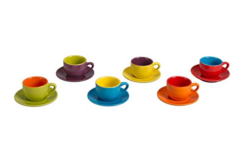 Oven Safe Saucers Cups (BIA Cordon Bleu 4-Ounce Espresso Cup and Saucer, Set of 6, Assorted Colors)