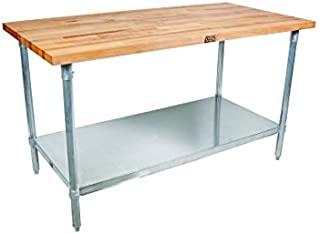 """product image for John Boos JNS15 Maple Top Work Table with Galvanized Steel Base and Adjustable Galvanized Lower Shelf, 36"""" Long x 36"""" Wide x 1-1/2"""" Thick"""