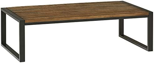 Amazon Brand Stone Beam Industrial Coffee Table, 53 W, Antique Natural and Black