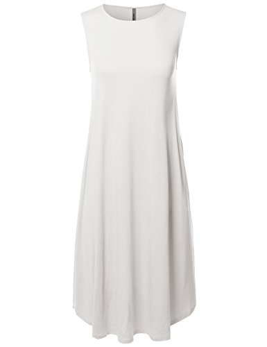 Casual Solid Viscose Sleeveless Round Neck Loose Fit Midi Dress Ivory -