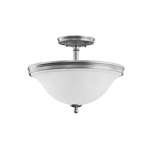 Sea Gull Lighting 77850-965 Convertible Semi-Flush/Pendant with Satin Etched Glass Shades, Antique Brushed Nickel Finish