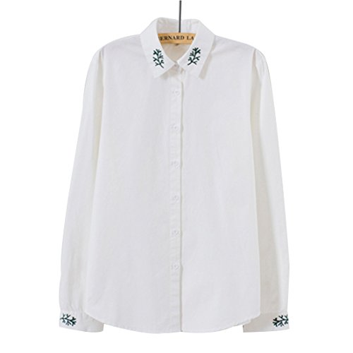 ペルメル脆いオセアニア(ボラ-キキ) Bole-kk シャツ ブラウス 長袖 前開き レディース オフィス カッターシャツ 通勤 通学 可愛い 刺繍 大きいサイズ 白