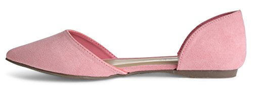 Suede Women's Pointed D'orsay Faux Ts Toe Breckelles Su Pink Flats va4qRgx